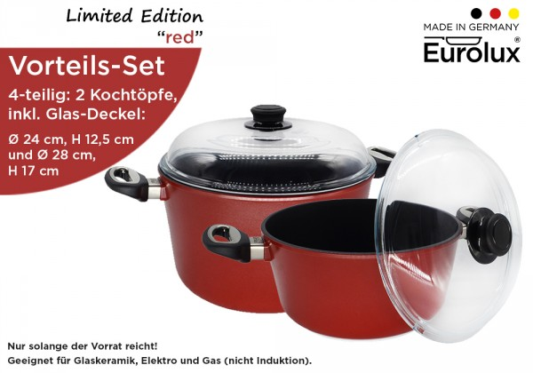 "Limited Edition ""red"" - Vorteils-Set - 2 Kochtöpfe (Ø 24 cm, Ø 28 cm) inkl. 2 Glas-Deckel"
