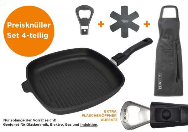 Eurolux® Grillpfannen-Set 4-teilig: Grillpfanne Induktion, m. Flaschenöffner-Aufsatz + Zubehör