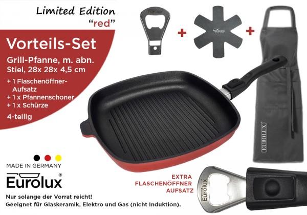 """Limited Edition """"red""""-Set 4-teilig: Grillpfanne 28 x 28 x 4,5 cm, m. Flaschenöffner-Aufsatz+Zubehör"""